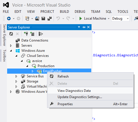 Server Explorer is under the View menu.