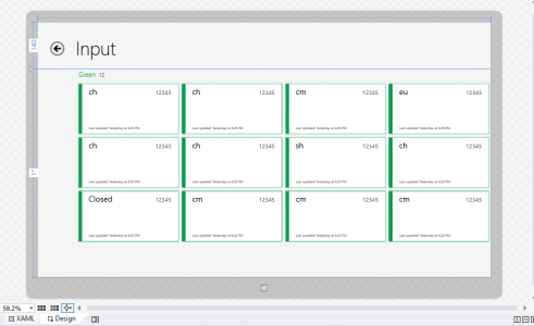The Design tab, showing a grouped GridView, filled with data.